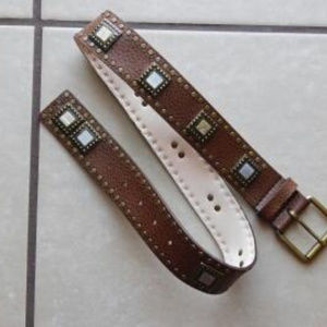 Brown Leather Belt with Square Stones